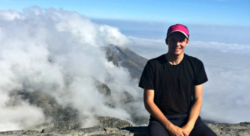 Braydon Rennie on top of Table Mountain in South Africa