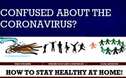 Top portion of coronavirus education poster designed by nursing students