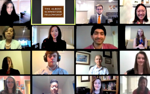 Screen-shot photos of the 15 new Schweitzer Fellows